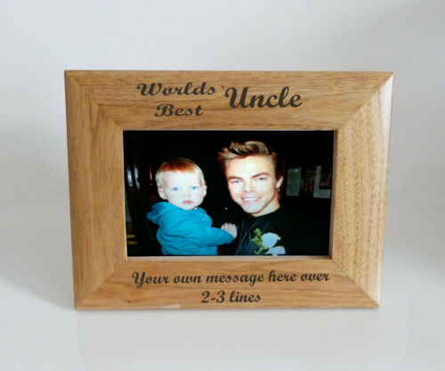 Worlds Best Uncle 6 x 4 Wooden Photo Frame   Personalise this frame  Free eng