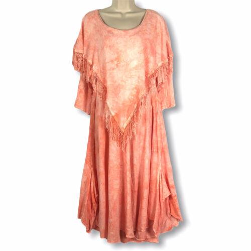 Moroccan Gypsy Dress Maxi Size M Coral Pink Boho