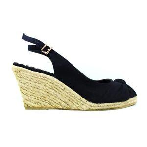 Womens-Black-Wedge-Espadrilles-Mid-Heel-Summer-Sandals-Ankle-Strap-UK-Size-4-5-6