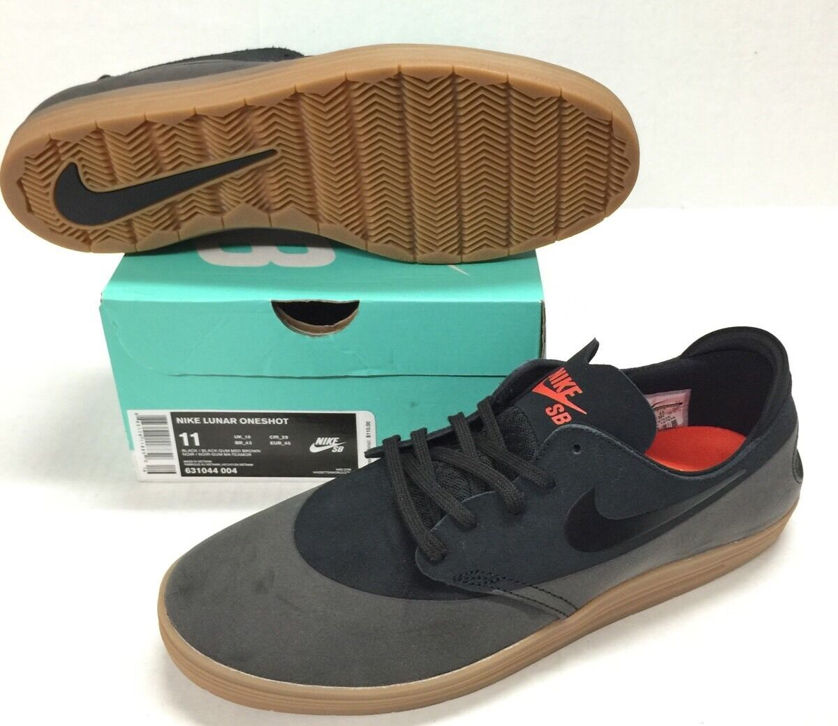 NIKE SB LUNAR ONESHOT BLACK / BLACK - GUM MED BROWN *NEW* The latest discount shoes for men and women
