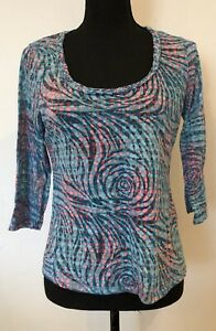 Ladies-Top-Size-12-Turquoise-Pink-Pattern-lt-SW5545