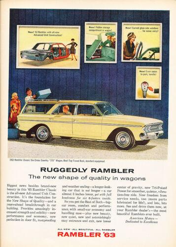 Original Car Advertisement Print Ad J126 1963 Rambler Classic Wagon 770