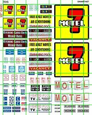 7015 DAVE'S DECALS HO SCALE MOTEL 7 BUDGET CHEAP ADVERTISING BUILDING SIGNS SET