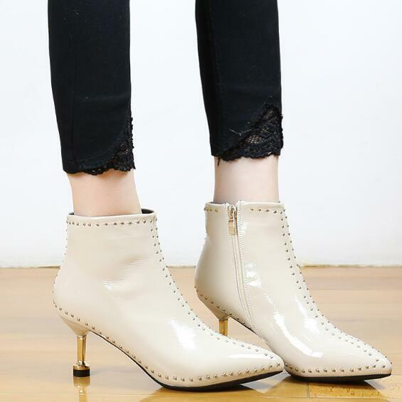 Womens Patent Leather Rivet Med Kitten Heels Ankle Boots Pointed Toe shoes F410