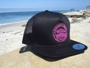 159e067eca5d5 Women's Flatbill Trucker Black hat Surfing Surfer Mesh snapback ...