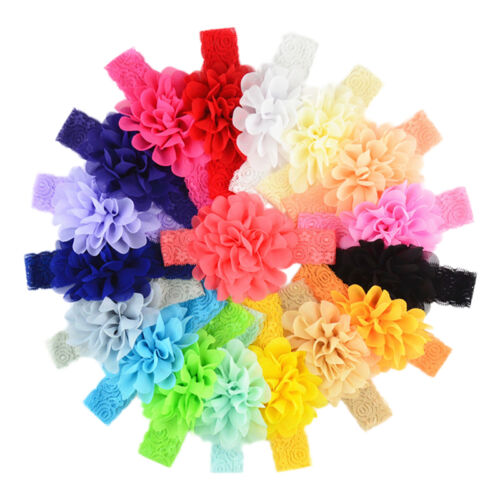 10pcs Kids Baby Girls Toddler Cute Lace Flower Headband Hair Band Headwear Udww