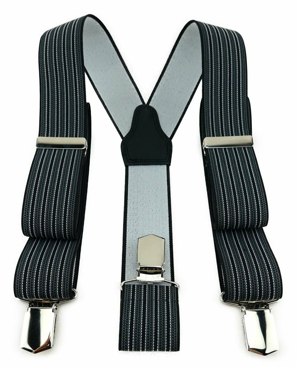Tigertie Unisex Braces 3 EXTRA STRONG CLIPS-Anthracite Black Striped