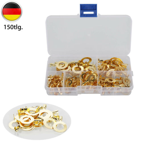 150X Rohrkabelschuhe Sortiment Ringösen Ringzungen Kabelschuhe Ring Set M3-M10