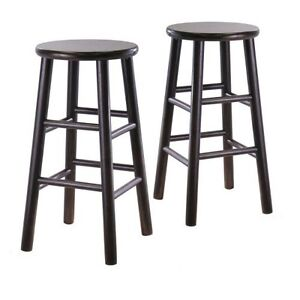 Set Of 2 Backless 24 Inch Bar Stools In Espresso Finish Ebay