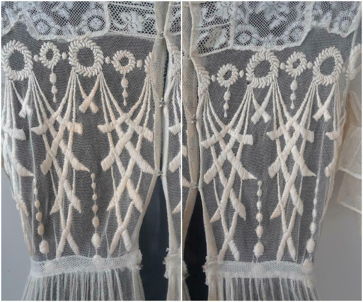 Lovely Antique Edwardian Embroidered Cotton Net D… - image 8