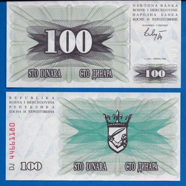 Bosnia Herzegovina P-13 100 Dinara 1992 Uncirculated Banknote