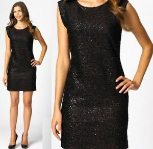 348 Exclusively Misook Adele Black Sparkle Sequin Sweater Knit Cocktail Dress Ebay