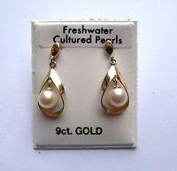 9ct Gold Freshwater Pearl Drop Stud Dangle Earrings