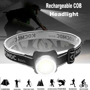 Super-bright-USB-Rechargeable-Headlamp-COB-LED-Headlight-Head-Light-Flashlight