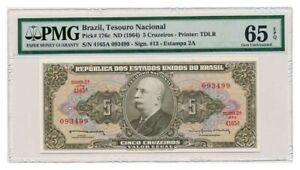 BRAZIL-banknote-5-CRUZEIROS-1964-PMG-MS-65-EPQ