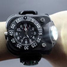 Außen Mode Wiederaufladbare LED Sport-Armbanduhr-Taschenlampe mit Kompass Neu