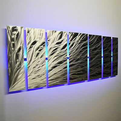 Color Changing Led Modern Abstract Metal Wall Art Sculpture Painting Decor Rgb Ebay