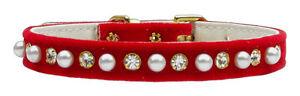 Red-Crystal-amp-Pearl-Velvet-Dog-Puppy-Collar-25cm-30cm-amp-35cm