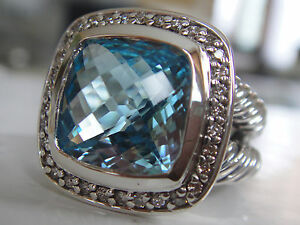 $1050 David Yurman Albion Topaze Bleue Diamant Ice Ring Sz-afficher Le Titre D'origine Des Friandises AiméEs De Tous