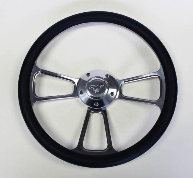 """70-77 Ford Mustang Navy Blue & Billet Steering Wheel 14"""" Running Pony Center Cap"""