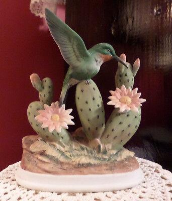 Porcelain Hummingbird Figurine Andrea Sadek Japan # 7703 Flowering Desert Cactus