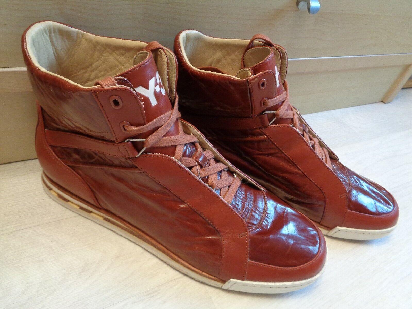 Y-3 Yohji Yamamoto ankle Stiefel UK 12 47 mens Adidas braun leather moc toe hi top