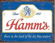 Hamm's Beer Born In The Land Sky Blue Waters Tin Metal Beer Bar Sign Made In USA