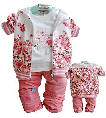 3 pcs baby kids girls tops &T shirt & pants set girls autumn suit outfits peony