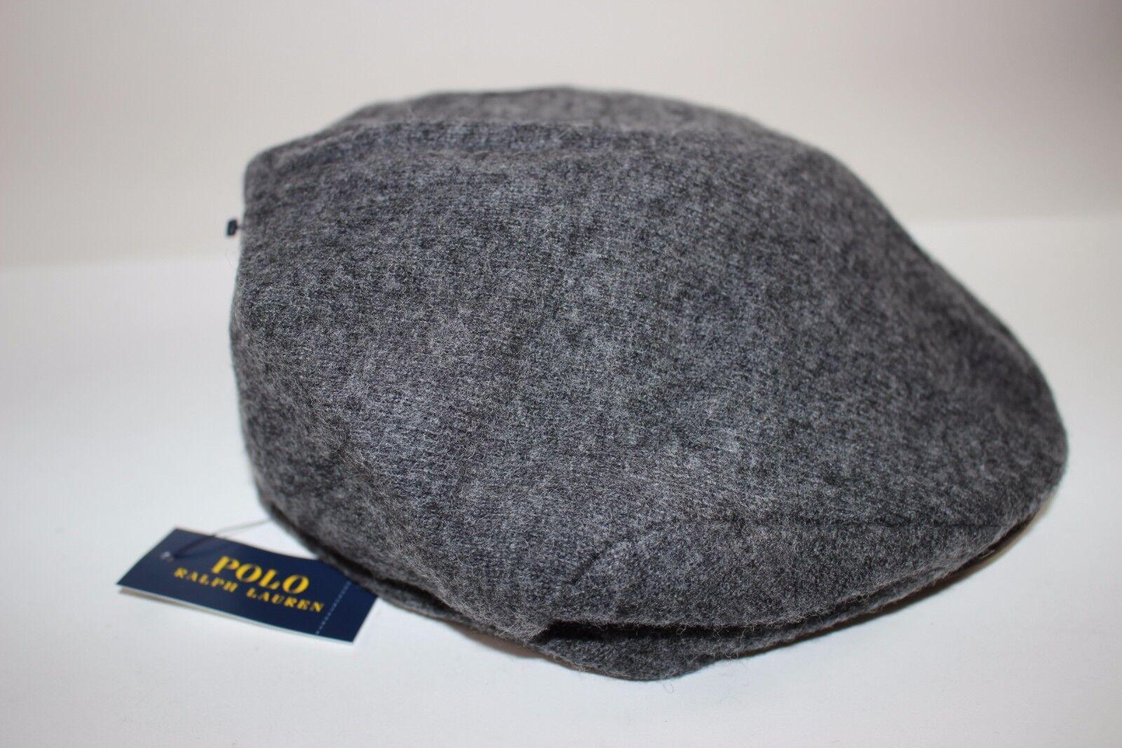 NWT RALPH Charcoal LAUREN Size S/M Men's Charcoal RALPH Wool Blend Suede Brim Driving Cap 8dfc98