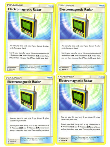 Electromagnetic Radar 169//214 Pokemon Unbroken Bond 4 Card Lot Trainer Playset
