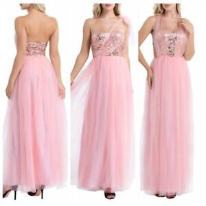 UK-Women-039-s-Sweetheart-Sequins-Wedding-Bridesmaid-Cocktail-Party-Prom-Long-Dress