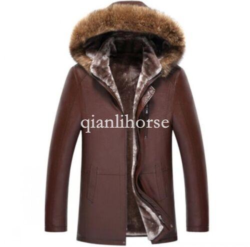 Mens Jacket Real Genuine Fur Coat Fur Lined Leather Sheepskin Coats Parka Winter