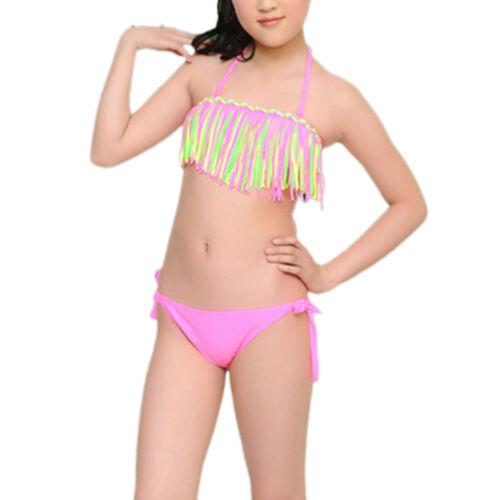 2er tlg Kinder Mädchen Bikini Badeanzug Bademode Sommer Strand Schwimmanzug Neu