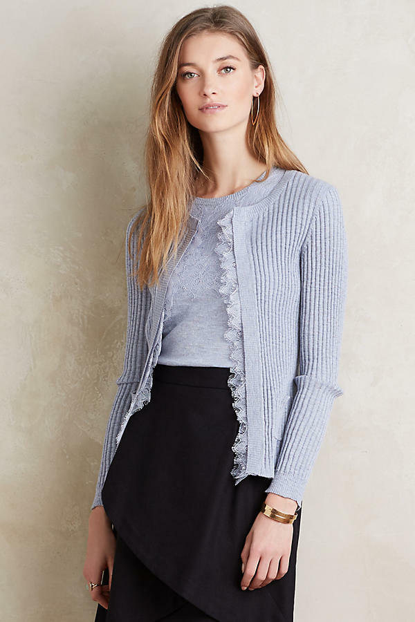 NWT Anthropologie Ribbed Lace Cardigan, by Knitted & Knotted - bluee size L