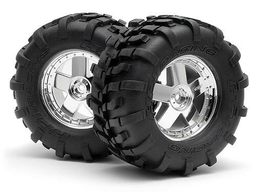 HPI SAVAGE X 4.6 NITRO GT-2 4708 MOUNTED GT TYRE S COMPOUND ON GT5 WHEEL CHROME
