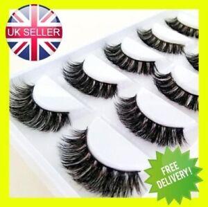 3D-Mink-Eyelashes-Luxury-5-Pairs-Wispy-Thick-False-Long-Layered-Lashes-Makeup-UK