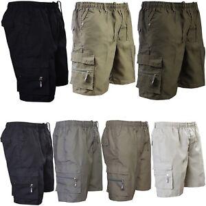New-Mens-Plain-Summer-Elasticated-Shorts-7-Pockets-Zip-Fly-Cargo-Combat-Pants
