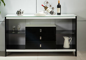 HIGH-GLOSS-WHITE-3-drawers-BUFFET-SIDEBOARD-tempered-glass-top