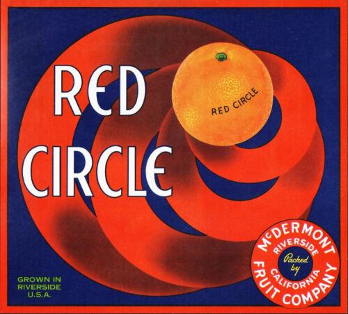 *Original* RED CIRCLE *Hypnotic* Riverside Orange Crate Label NOT A COPY!!