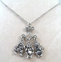 See No Evil, Hear No Evil, Speak No Evil Necklace On Chandelier With Link Chain