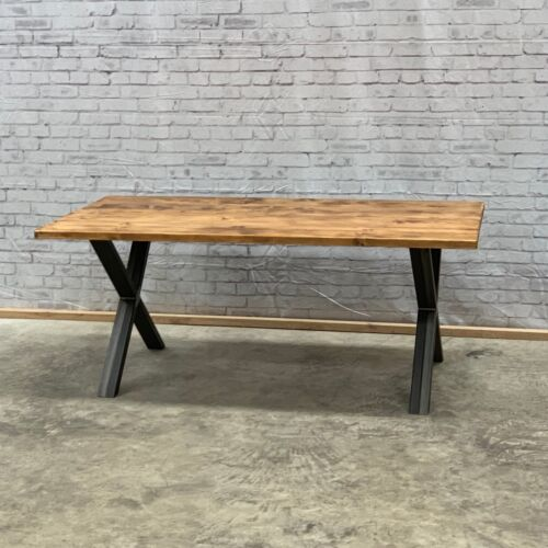 Reclaimed Industrial Chic 4 10 Seater Dining Table Steel X Shape Frame Tab01