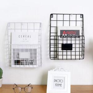 Modern-Metal-Magazine-Rack-Letter-Newspaper-Basket-Wall-Shelf-Storage-Organizer