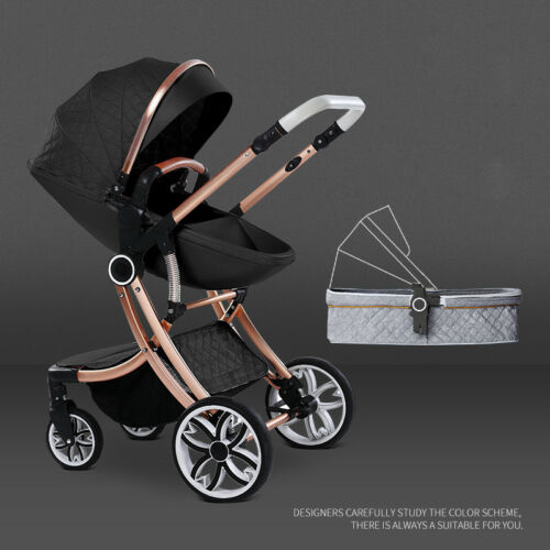Baby stroller 3 in 1 folding high view pushchair shock absorber 0-3 years buggy