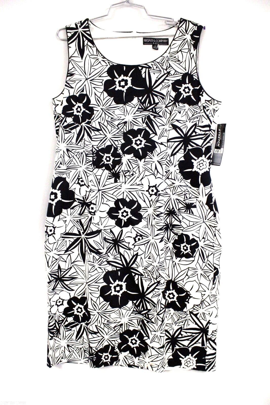 Kasper & Co schwarz Weiß Floral Stretch Cotton Sleeveless SheathDress 14 NWT