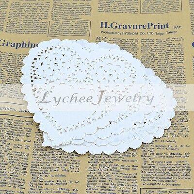 10Pcs Heart Shaped Doily Placemat Tea Cup Mat Paper Craft Party Wedding Decor