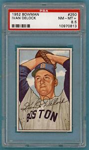 1952-Bowman-Ivan-Delock-250-PSA-8-5-Red-Sox-POP-3