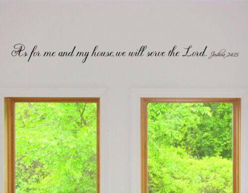 Comme pour moi et ma maison nous Servir le Seigneur Vinyle Mur Art Mots decals foi