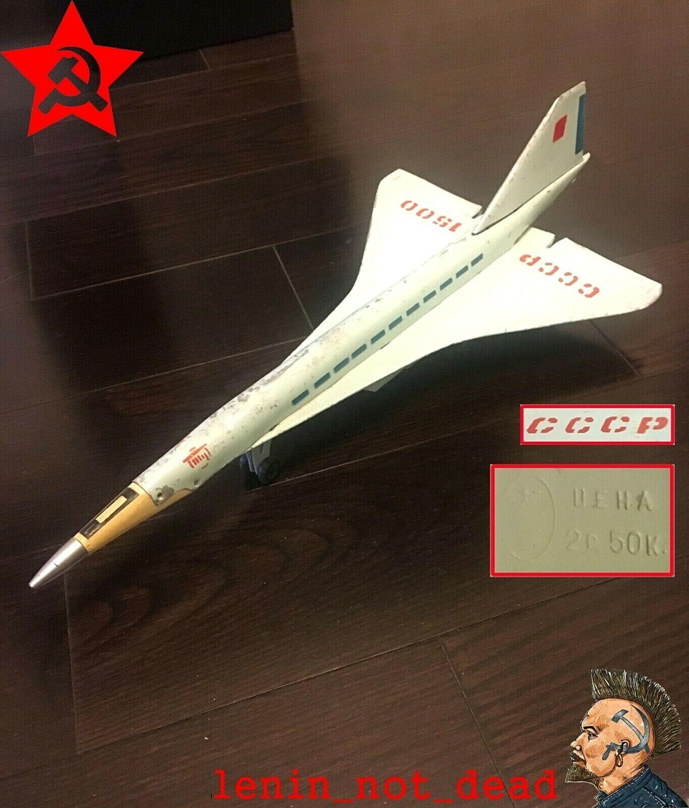 Avión De Juguete Vintage TU-144 avión Tupolev Aviones Metal mecanismo de inercia URSS