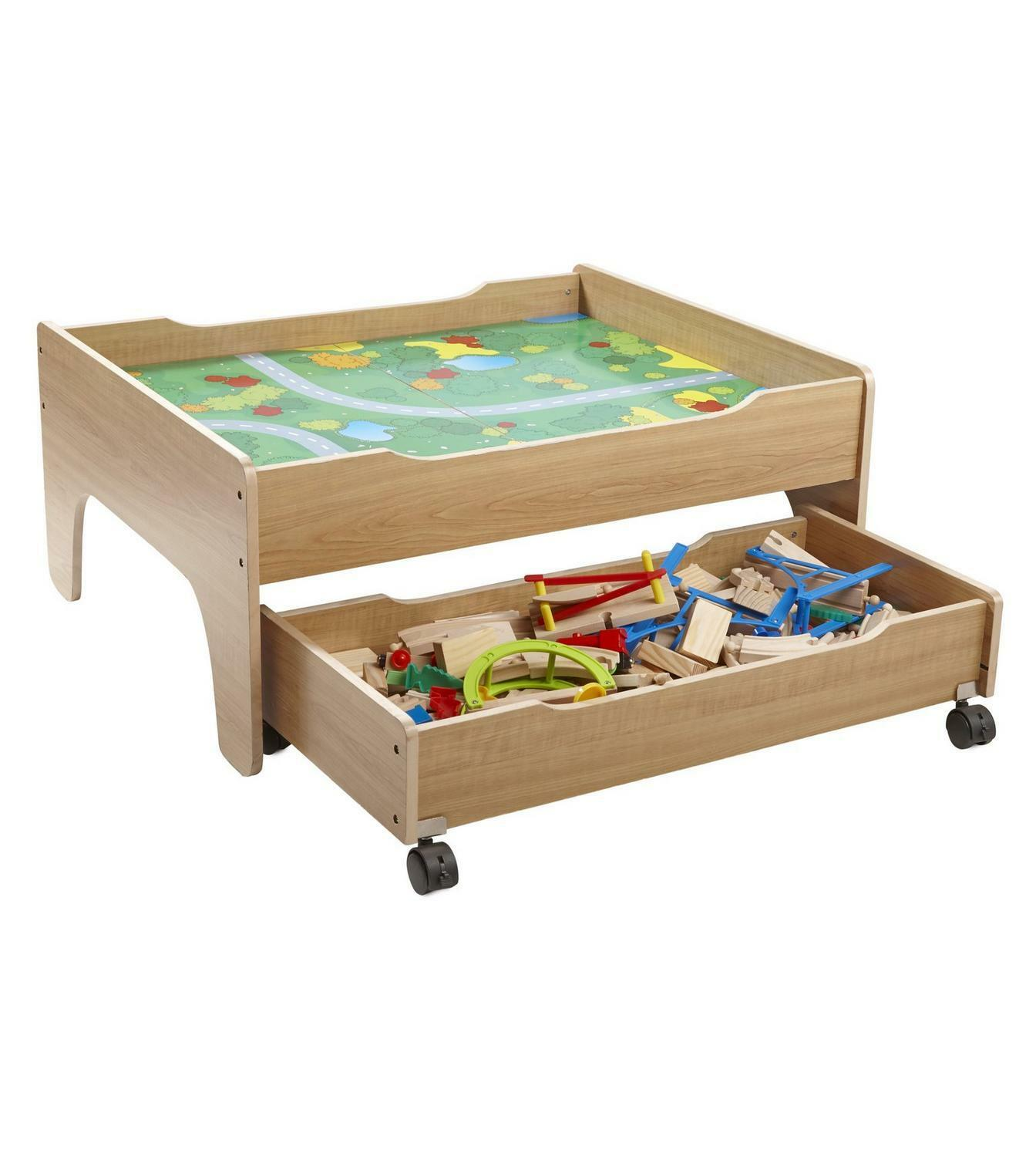 100 100 100 Piece Wooden Train Set Table with Reversible Car Play Table & Drawer 71bedd