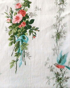 Vintage-French-Shabby-Cottage-Birds-Roses-Bouquet-Bow-Fabric-Pink-Aqua-Green-1